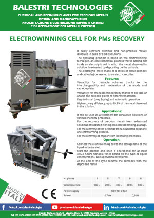 Electrowinning cell for PMs recovery